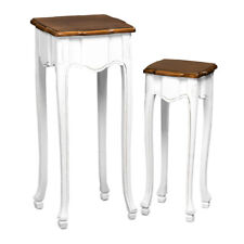 Set of 2 Antique Look White Wooden Side End Tables, Home Storage Organizers