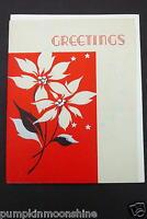# I 276- Vintage Unused Art Deco Xmas Greeting Card Pretty Holiday Poinsettias
