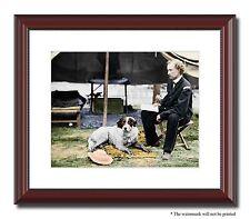 """Gen George Custer dog soldier 11x14"""" Framed Photo Print Color Civil War -01553"""