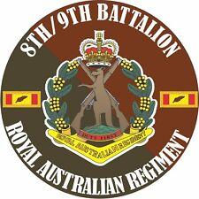 8TH/9TH BATTALION ROYAL AUSTRALIAN REGIMENT LAMINATED VINYL STICKER 100MM DIA
