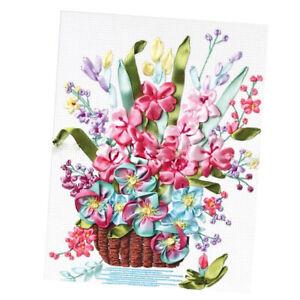 Embroidery Beginner Kit DIY Spring Floral Silk Ribbon Cross Stitch for Art Craft
