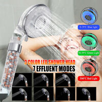 3 Color LED Filtered Shower Head High Pressure Water Saving Pause Function Kits