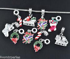 10 Mixte Pendentifs Noël Émail pr Bracelet charm