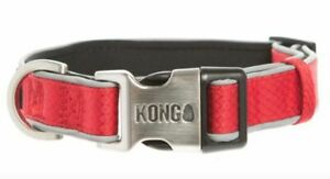 KONG Racy Red Padded Reflective Comfort Dog Collar HTF metal Kong buckle L 18-26