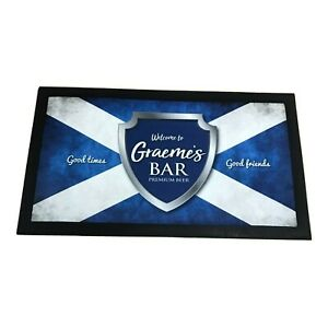 Personalised Bar Runner Mat Graeme's Bar, Man Cave Home Pub Shed Beer Party Gift