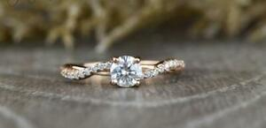 0.65 CT White Round Cut Diamond Engagement Wedding Ring In 14K Rose Gold Plated