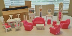 18 Pieces Vintage Blue Box 1:24 Scale Dollhouse Furniture Living Dining Bed room