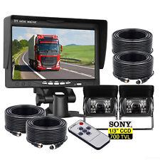 "7"" Car Monitor 4 PIN 2X 700TVL Sony IR CCD Reversing Camera For Caravan 20m Kit"