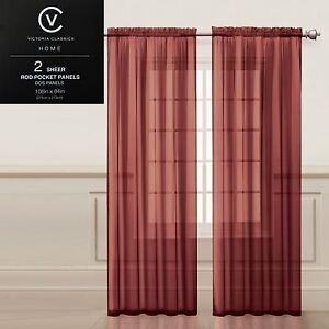 "Two (2) Sheer Rod Pocket Window Curtain Panels: 108""W x 84""L, Fully Hemmed"