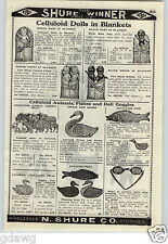 1926 PAPER AD Celluloid Dolls In Blankets Black Negro Collored Twin Babies White