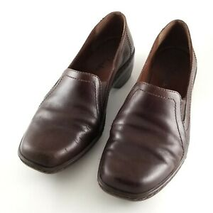 Clarks Brown Leather Loafer Size 6 Shoes Comfort Slip On Womens Shoe Women M