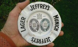 A Nice Rare Original Small Coloured JEFFREY's EDINBURGH Enamel Ashtray Sign.