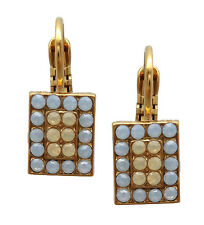 MARIANA English Gold Swarovski Earrings Air Blue & Sand Rectangle 1092 Rhapsode