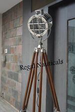 SEARCHLIGHT WITH BROWN TRIPOD STAND WOOD POLISHED HOME DECOR ELECTRIC FLOOR LAMP