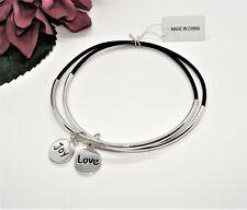 Pretty! 2 Black & Shiny Silvertone LOVE & JOY Charm Bangle Bracelets New!