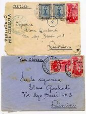ITALY TRIPOLITANIA WW2 1941 FRONTS CENSOR + AIRMAIL to RIMINI inc OVERPRINTS