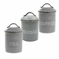 Set of 3 Retro Grey Metal Enamel Coffee Sugar Tea Canister Storage Airtight Lids