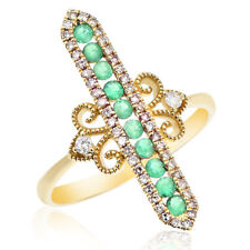 Right Hand Cocktail Stick Finger Ring 14K Yellow Gold Pave Diamond Emerald