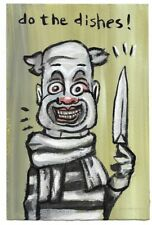 Evil Bad Stabby Clown Do the Dishes Kitchen Knife folk pop lowbrow art painting