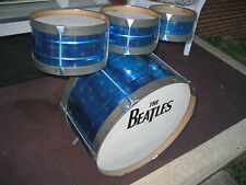 Vintage BEATLES NOBLE & COOLEY Blue STARLIGHT Childs TOY Tin 4pc.  DRUM SET