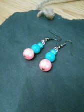 Pretty delicate pink turquoise lustre bead costume drop earrings