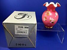 """Fenton, 2005 5.5"""" Wild Rose Vase 7688 WM, Limited Edition,  894/1500"""