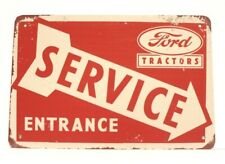 Ford Tractors Service Entrance Tin Metal Sign Vintage Style Ad Farm Equipment