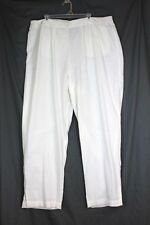 SOFT SURROUNDINGS Pants Plus Size 3X White Flat Front Linen Viscose Pocket