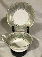 Peony Shape Footed Cup & Saucer Wedgwood England Gold Columbia Sage Green Band