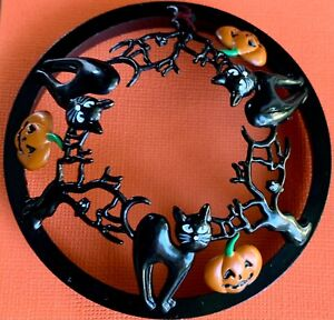 YANKEEE CANDLE Halloween BLACK CATS & JACK O'LANTERNS Illuma Lid