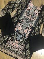 3 Pcs Pakistani Indian Kameez Salwar Frock Style Dress Linen Winter Suit Small