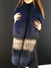 Dyed Silver Fox Fur Stole 70' Inch. (180cm) Viscose Lining Saga Furs Collar