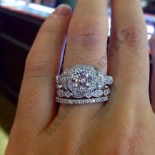 3CT Diamond 14K White Gold Over Engagement Ring Wedding Bridal Set For Women New