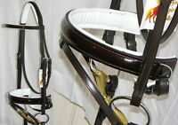 FSS PATENT Leather HAVANA BROWN GLOSS Comfort WHITE Padded Dressage Bridle Reins