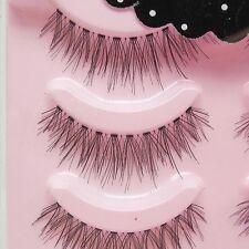 Hot 5pairs Beauty Makeup Handmade Nature Cross Black False Eyelashes in Pink Box