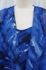 Alex Evenings Blouse Sz S Royal Blue Multi Color Sheer Tiered 2PC Blouse Jacket