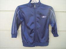 Reebok Boy Full Zip Athletic Warm Up Jacket Sz S 8 Solid Blue White Trim EUC BTS