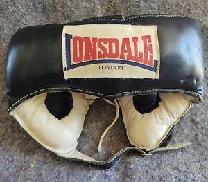 Vintage Lonsdale London black white Leather Competition Headgear Head Guard sz L
