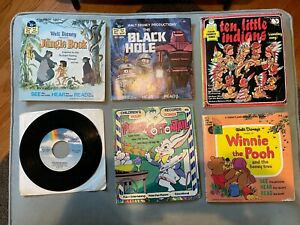 Walt Disney and Peter Pan Read Along Book and Record Lot - 45 RPM