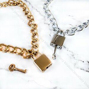 Special Stylish Men Womens Punk Smart Lock Padlock Shaped Chunky Chain Necklace