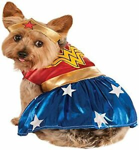Wonder Woman Dog Costume - M or XL - Dress & Crown - Red, Blue, Gold - NWT
