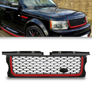 BLACK RED AUTOBIOGRAPHY STYLE FRONT GRILL GRILLE FOR RANGE ROVER SPORT LS 05-09