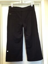 Lululemon Black Relaxed Fit Crop II Pants Drawstring Zip Pocket Sz 6 8 ??  VGUC