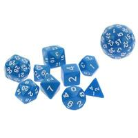 10pcs Dés Polyédriques Nombres Dice D4-D60 pour D&D RPG Jeux de Table Bleu