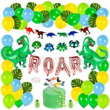 ROAR 64 Pcs Dinosaur Party Decorations Kids Happy Birthday Balloons Green Masks