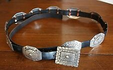 Sterling 925 Silver Concho Buckle Belt AJB Albert Jeanette Brown Navajo Vtg Art