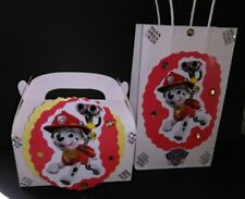 Paw patrol inspired Marshall character birthday party goody bags or candy boxes.