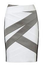KAREN MILLEN Skirt - Pencil Spliced White Grey Black Designer - RRP $299 - 8/10