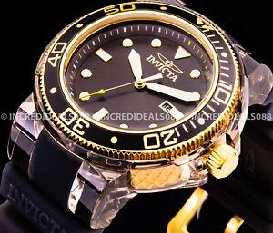 Invicta Grand Pro Diver Anatomic 18K Gold Black SS 52mm Stylish Bold Mens Watch