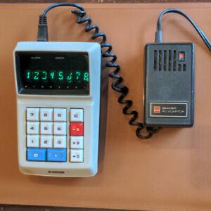 Sharp EL-8 Calculator Beige + EL-81 Adapter (TESTED, PERFECT, BATTERY WORKS)
